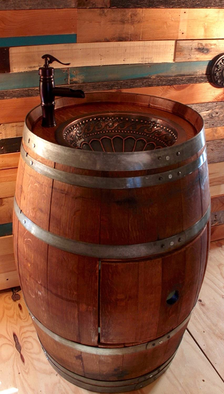 Amazon: Wine Barrel Copper Sink Vanity With Hidden Hinged Door And  Antique Waterfall Faucet: Handmade