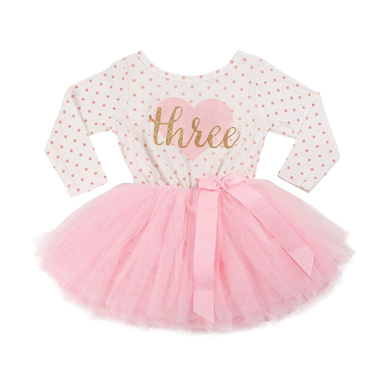 Grace /& Lucille 3rd Birthday Dress Flat Heart Gold 3T Long Sleeve