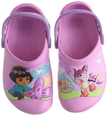 c8206061606 crocs Girl's CC Dora Butterfly Carnation and Iris Clogs and Mules - J2