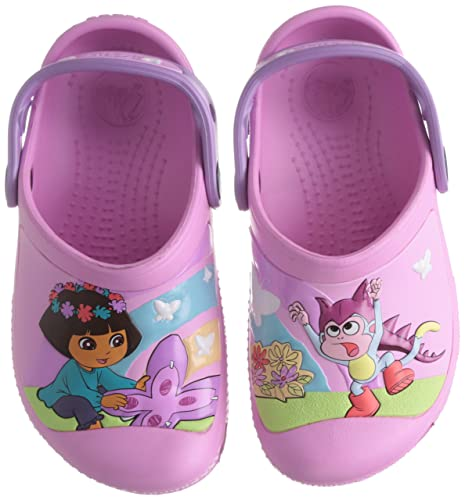 2b5efaf40 crocs Girl s CC Dora Butterfly Carnation and Iris Clogs and Mules - J2