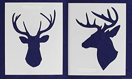 Amazoncom Buck Deer Head Stencils 2 Piece Set 8 X 10 Inches