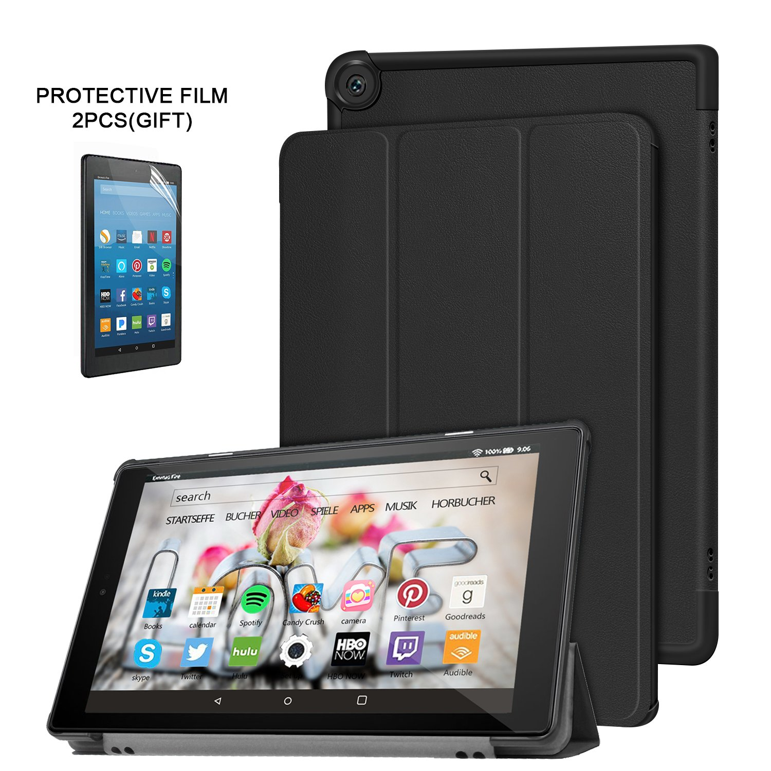 ElekFX Case for All-New Fire HD 10 2017 Tablet(7th Gen, 2017 Release) Premium PU Ultra-slim Smart Stand Cover with Auto Wake/Sleep Function - Black by ElekFX