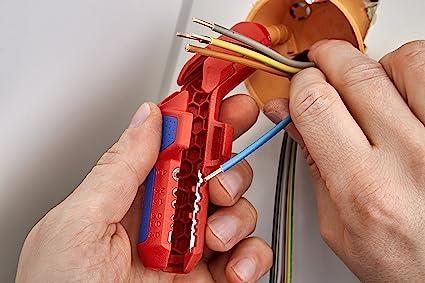 Knipex ErgoStrip pelacable Azul, Rojo - Desbrozadora (1,3 cm, 8 mm, De plástico, Azul, Rojo, 13,5 cm, 74 g): Amazon.es: Bricolaje y herramientas