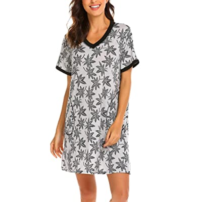 Goldenfox Womens Nightshirt V-Neck Short Sleeve Patchwork Print Nightgown Sleep Dress S-XXL at Women's Clothing store