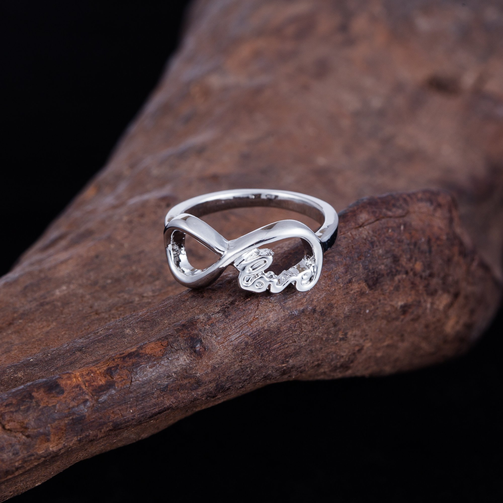 Vintage ''Infinity Love'' Alphabet Pattern Wedding Rropose Ring, Romantic Gift Ring for Lovers by fishhook (Image #2)