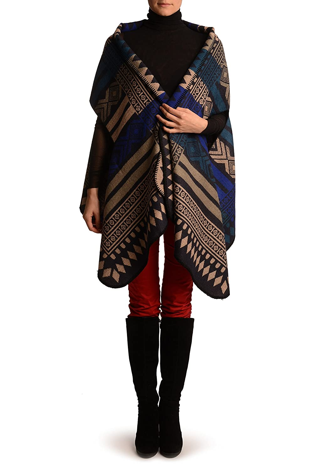 Beige, Blue & Teal Blue Aztec On Black Blanket Wrap (Poncho) - Poncho PC003495