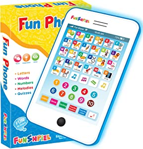 Fun Phone - Interactive Learning Toy Phone for 3 Year Old Girls & Boys – Electronic Educational ABC Tablet - Toddler Toy for Pre-School Kids – Learn Letters, Words, Numbers, Melodies, Spelling, Games.