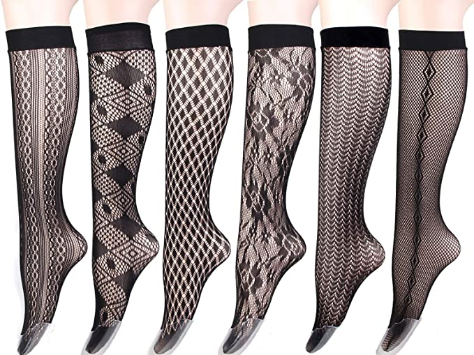 57ba6fd3137 Women s Stay Up Knee High Patterned Trouser Socks Fishnet Stockings Black 6  Pairs ...