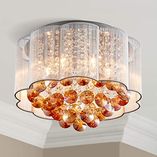 Bestier Modern Gold Crystal Raindrop White Shade Drum Chandelier Lighting Flush Mount LED Ceiling Light Fixture Lamp