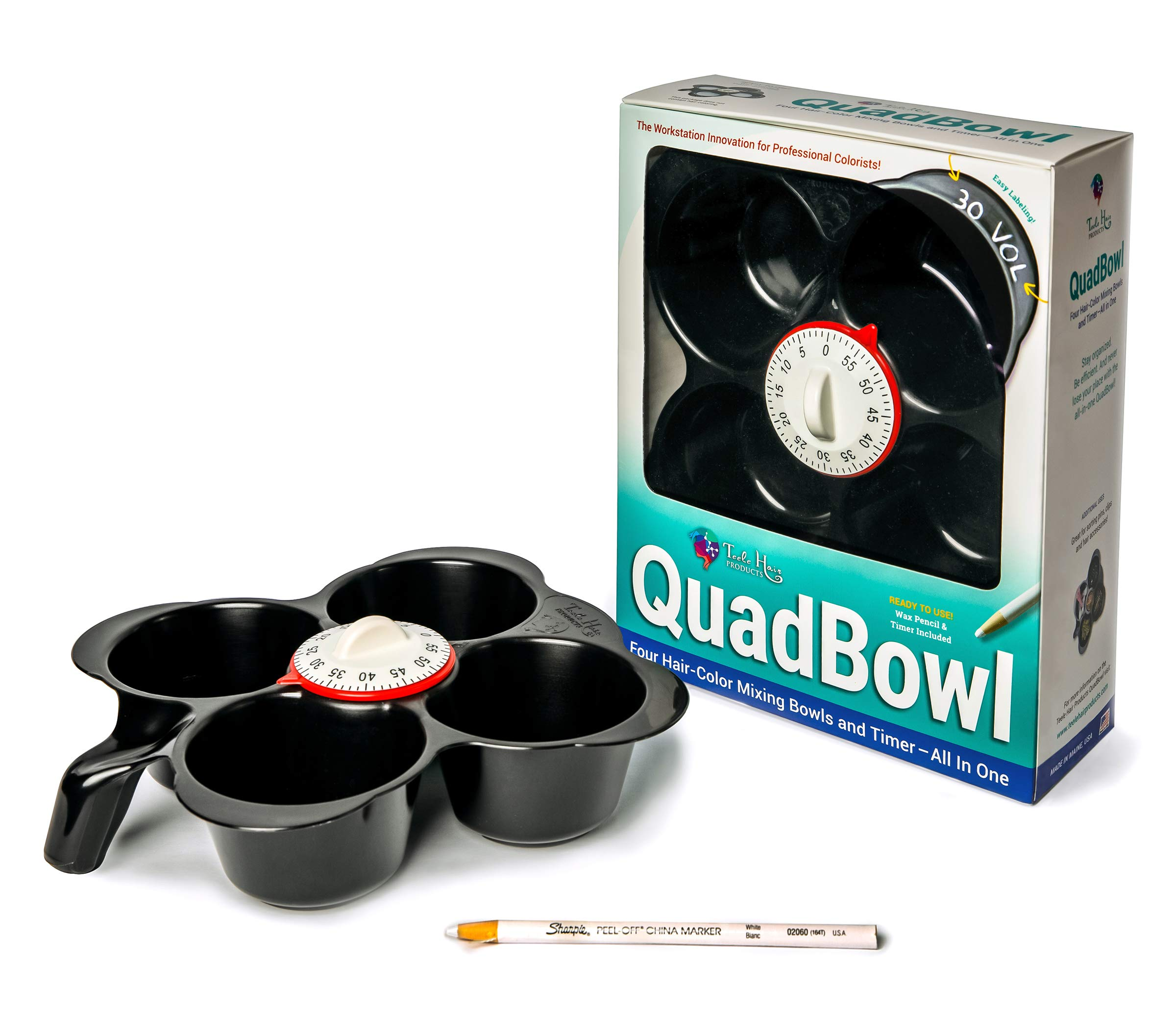 Teele Hair Products QuadBowl: Four Hair-Color Mixing Bowls, Labeling System, and Timer-All in One