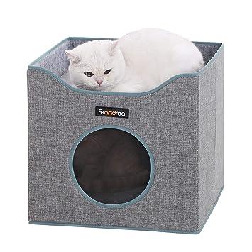 FEANDREA Cueva Plegable para Gatos, Casa para Gatos con Superficie Acostada y 2 Cojines Reversibles