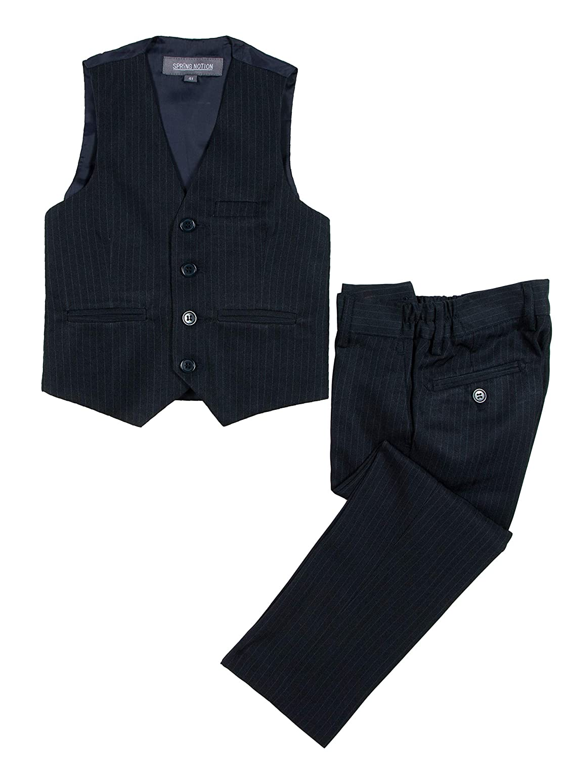 Spring Notion Big Boys 4-Piece Pinstripe Vest Set Blue
