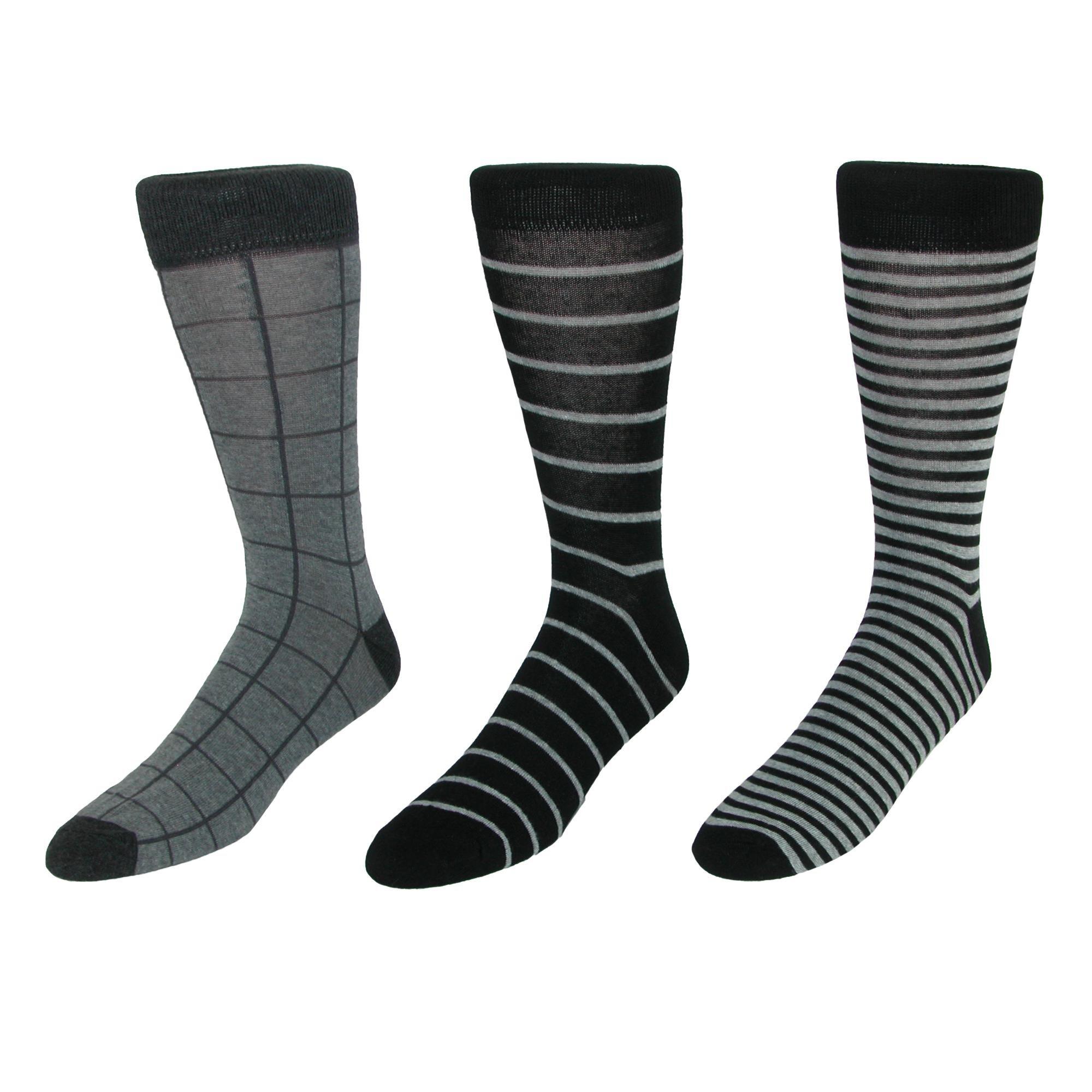 Parquet Men's Dress Sock Gift Box Set (3 Pair Pack), Black Gray
