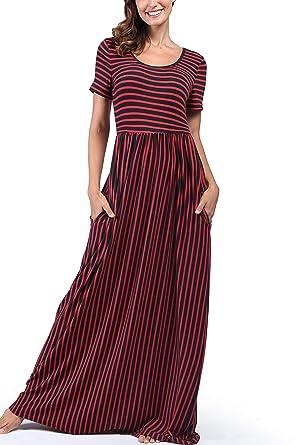 ed7b2b8a8ccf Amazon.com  Comila Women s Summer Short Sleeve Striped Casual Long ...