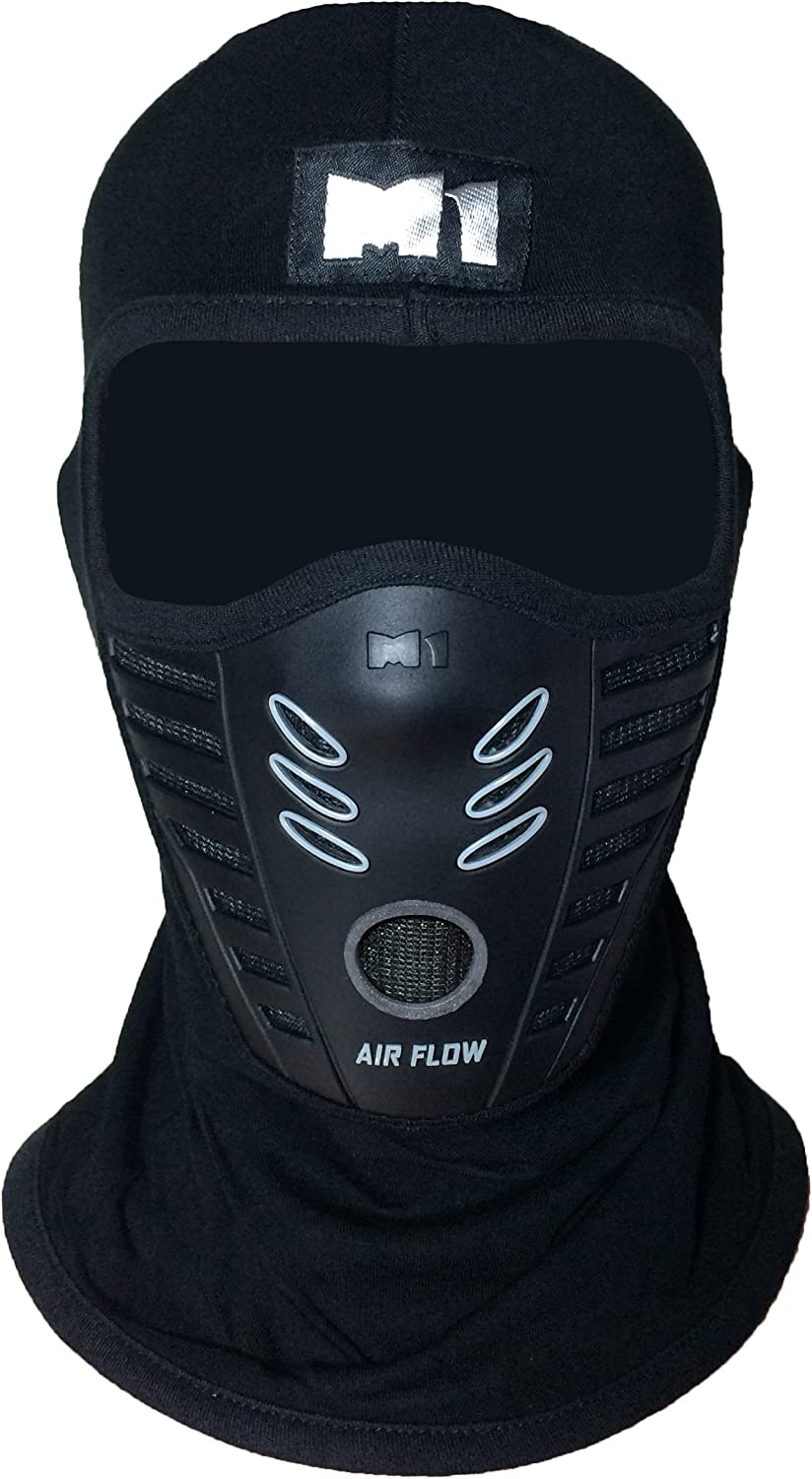 M1 Full Face Cover Balaclava Protection Filter Rubber Ski Dust Mask (BALA-FILT-RUBB-Blck) Black