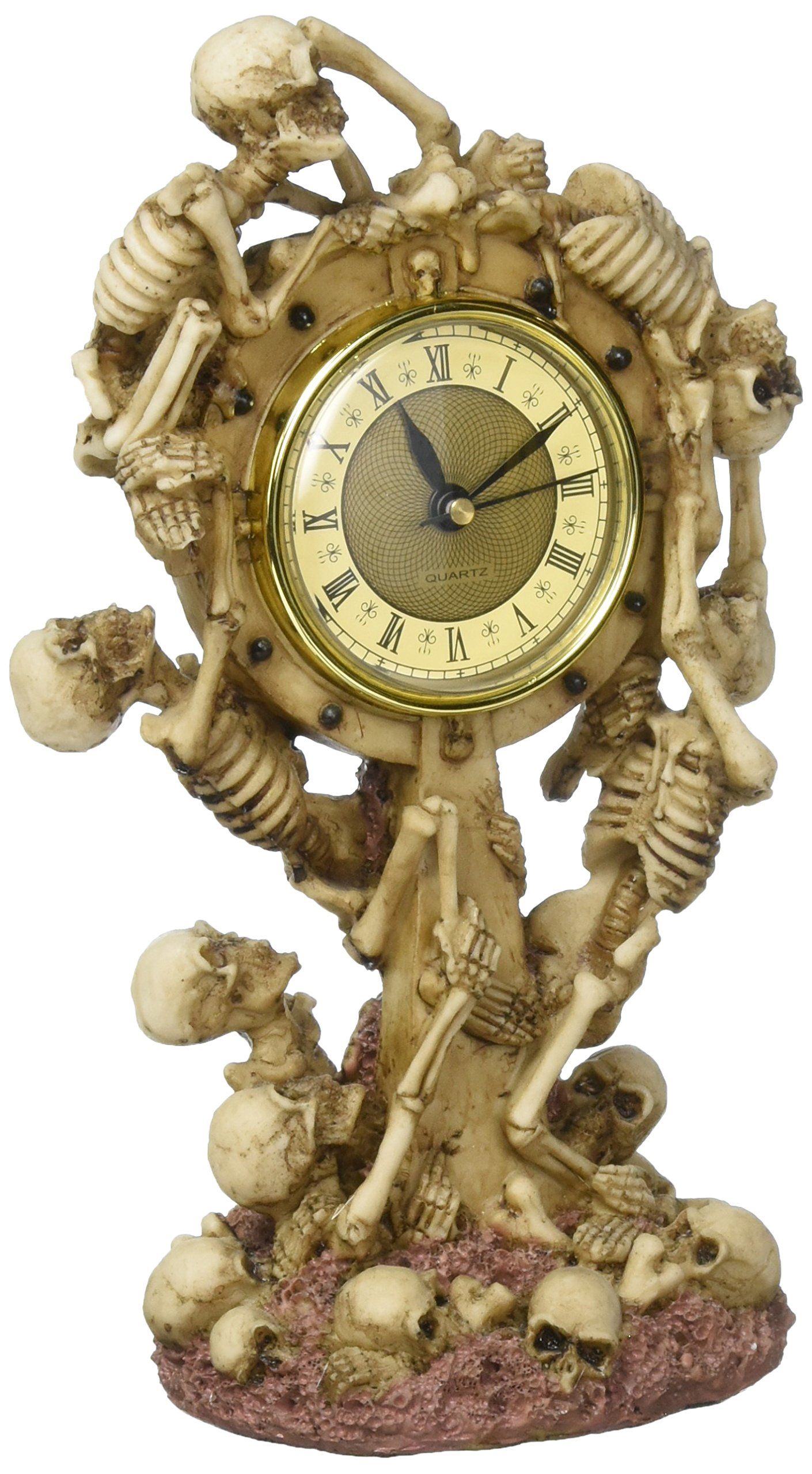 Design Toscano Skeleton Crew Sculptural Mantle Clock, Full Color by Design Toscano
