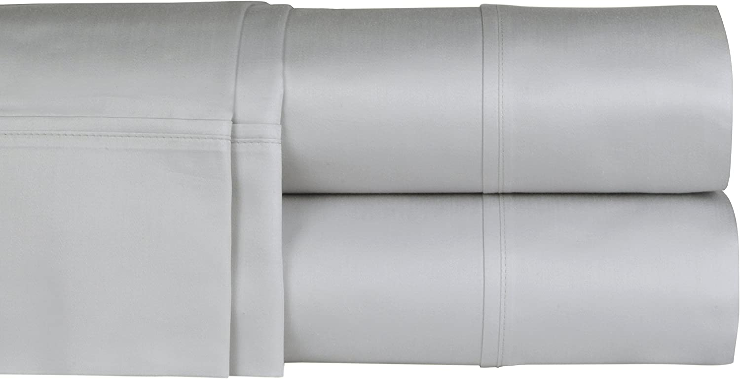Threadmill Home Linen 300 Thread Count 100% Cotton Sheet Set, King Sheets, Luxury Bedding Super Sale, King Sheets 4 Piece Set,Smooth Sateen Weave,Silver