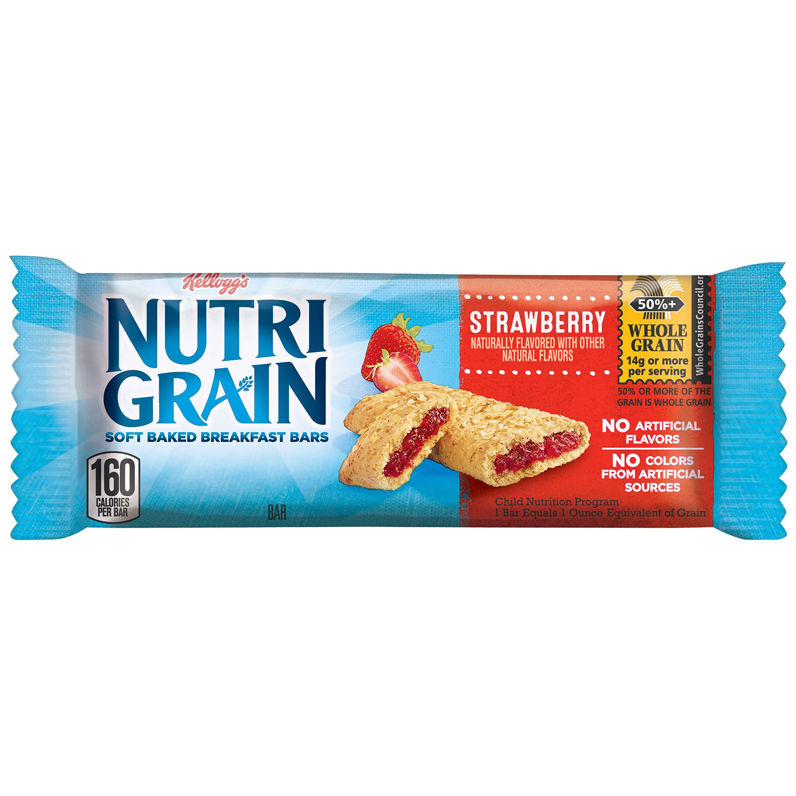 Kellogg's Nutri-Grain, Soft Baked Breakfast Bars, Strawberry, Made with Whole Grain, Strawberry, 24.8oz (96 count) by Nutri-Grain