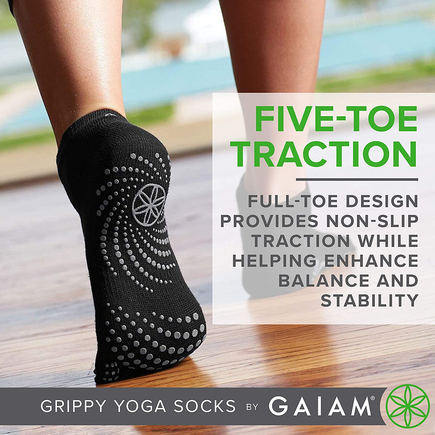 Pink Plaster//Mint Pilates 2 Pack Non Slip Grip Accessories for Standard or Hot Yoga Barre Ballet or at Home for Women /& Men Gaiam Grippy Yoga Socks
