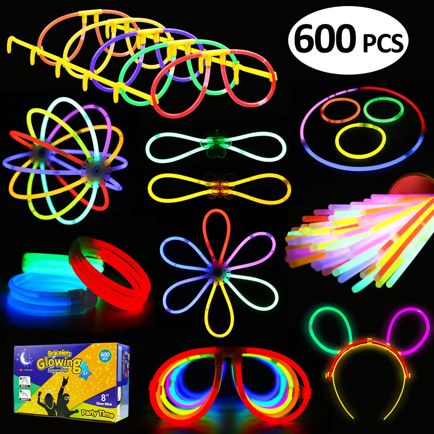 Glowstick, (600 Pcs Total) 250 Glow Sticks Bulk 7 Colour and Connectors for Bracelets Necklaces Balls Eyeglasses and More, Funcorn Toys Light up in The Dark Stick for Kid Party Birthday Halloween Gift by Funcorn Toys