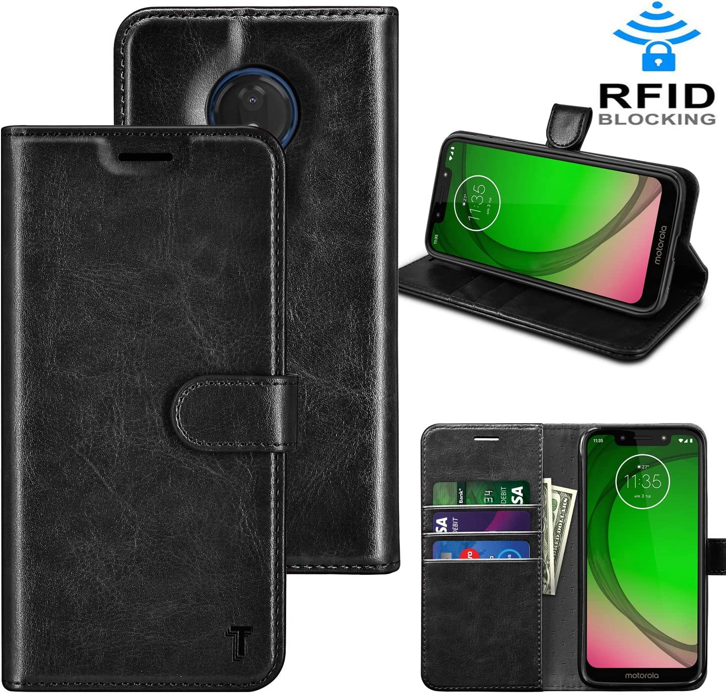 Takfox Moto G7 Power Case, Motorola G7 Supra/G7 Optimo Maxx XT1955DL/G7 Power Case Wallet PU Leather Flip Cover w/Card Slots ID Credit Card Holder [RFID Blocking][Kickstand] Magnetic Phone Case-Black