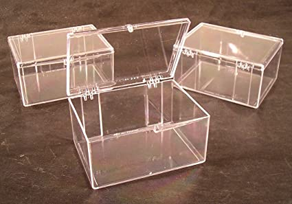Lot of 3 Crystal Clear Hinged Plastic Trading Card Storage Boxes (100-ct) & Amazon.com : Lot of 3 Crystal Clear Hinged Plastic Trading Card ...