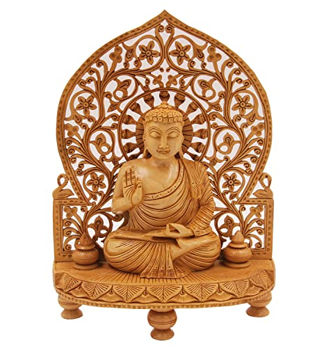 DharmaObjects Large Buddha Hand Carved Wooden Statue 12 Tall X 8.5 Wide, Buddha