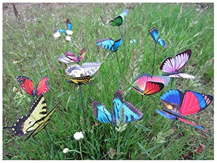 LeBeila Garden Butterfly Stakes Butterfly Garden Decor Statue Outdoor Yard  Planter Flower Pot Bed Ornaments Butterflies