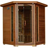 4-Person Cedar Corner Infrared Sauna w/ 10 Carbon Heaters