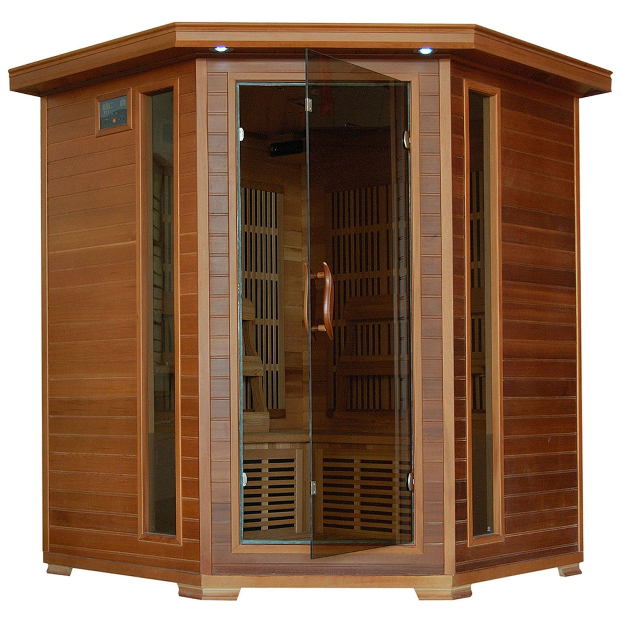 4-Person Cedar Corner Infrared Sauna w/ 10 Carbon Heaters