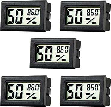 4pcs LCD Digital space thermometer with humidity meter Hygrometer Black nDI