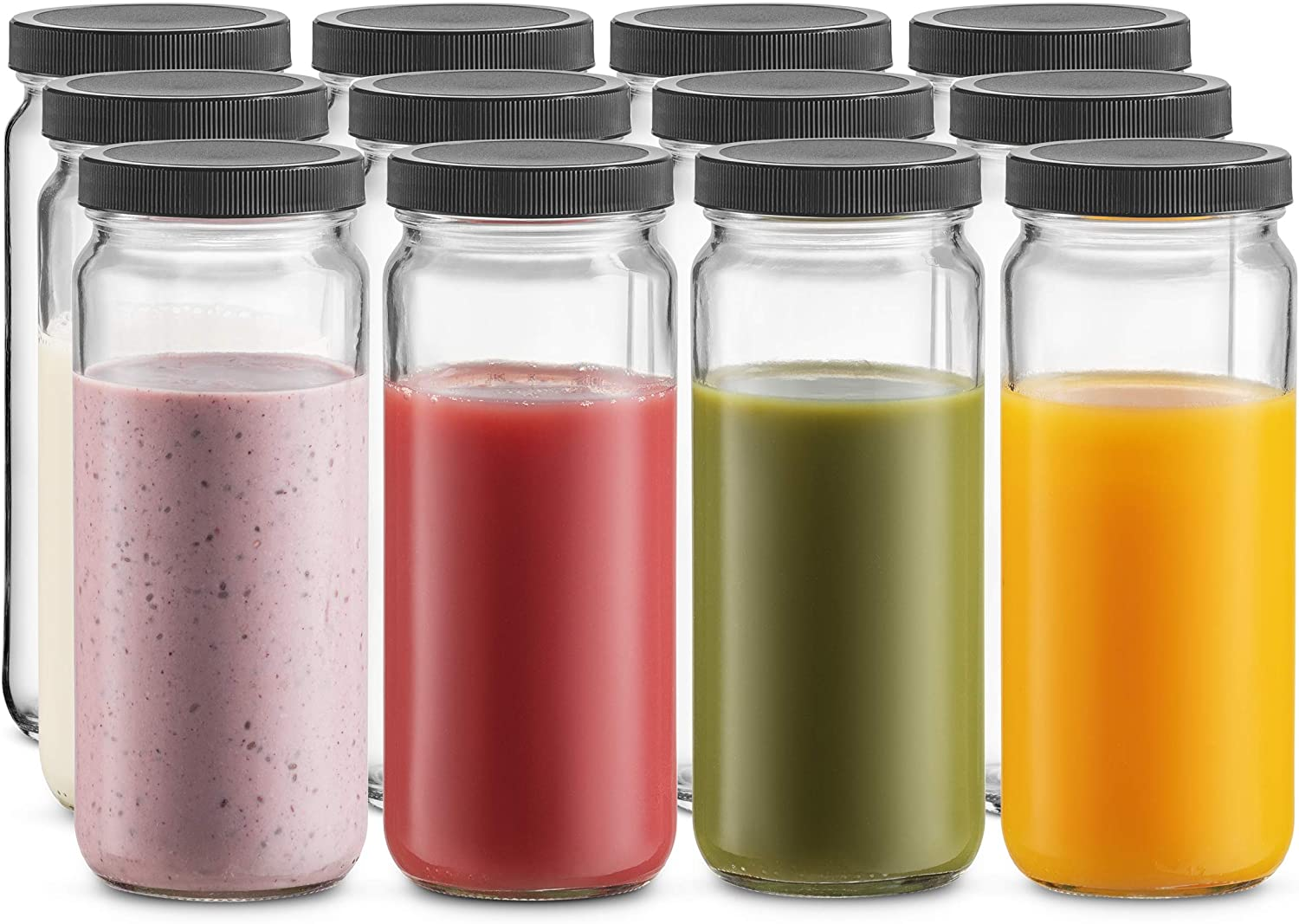Travel Glass Drinking Bottle Mason Jar 16 Ounce [12-Pack] Plastic Airtight Lids, Reusable Glass Water Bottle for Juicing, Smoothies, Kombucha, Tea, Milk Bottles, Homemade Beverages Bottle,