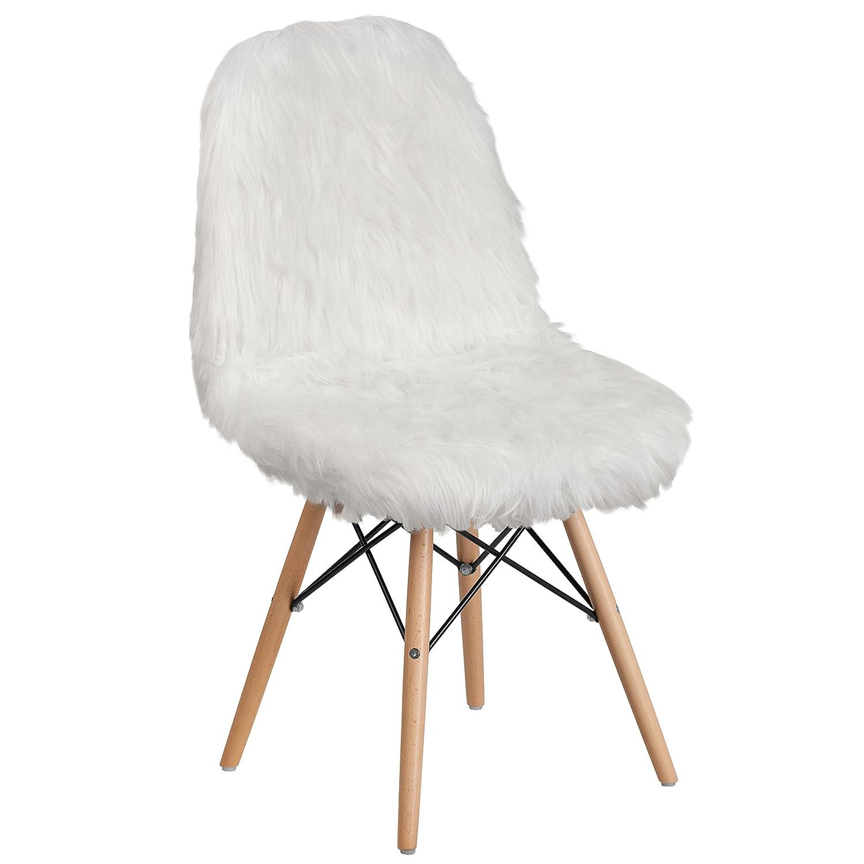 Flash Furniture Shaggy Dog White Accent Chair