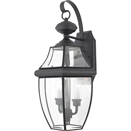 quoizel ny8317k newbury 2 light outdoor lantern mystic black wall