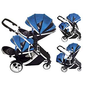 Kids Kargo Duellette 21 Bs Twin Double Pushchair Stroller Buggy with Tan Handle Pack (French Aqua)
