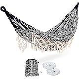 ROOITY Portable Hammock with Tassel,2 Person,Brazilian Tree Hammocks with Carry Bag for Bedroom,Garden,Backyard,Patio,Outdoor
