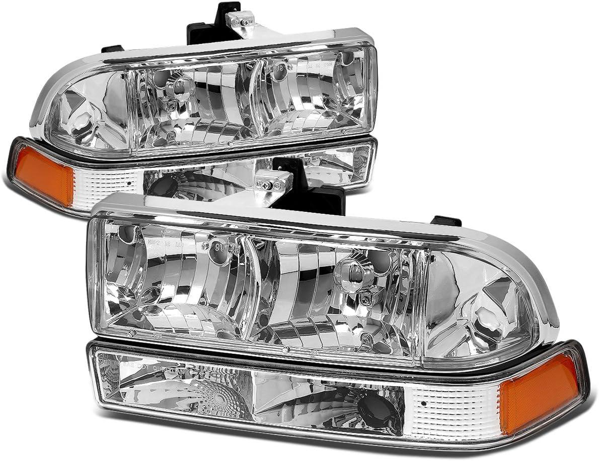 For Chevy S10//Blazer GMT 325//330 4Pcs Black Housing Amber Corner Headlight