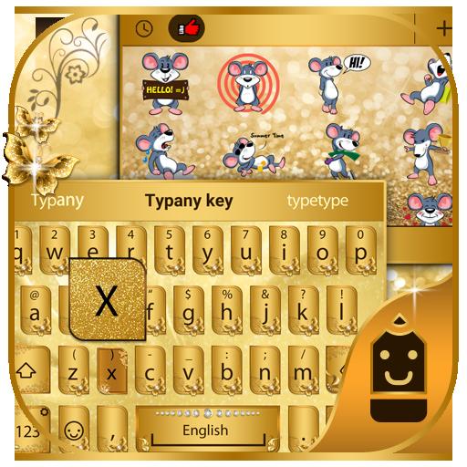 Golden Butterfly Theme Emoji Keyboard