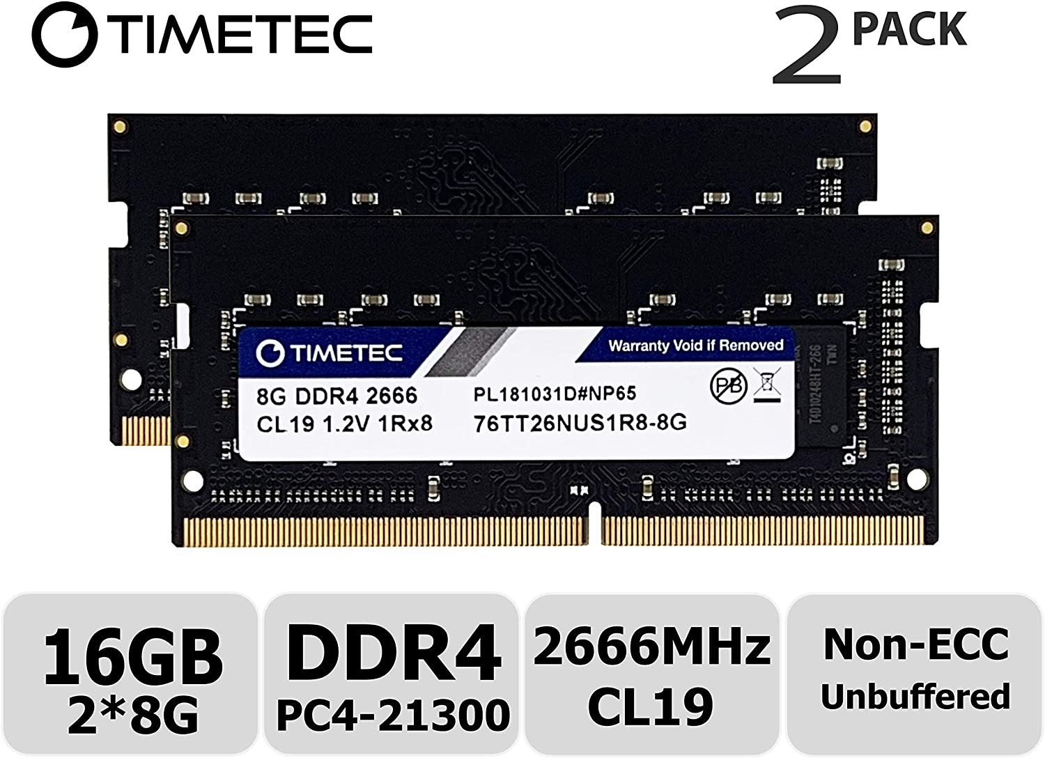 Timetec Hynix IC 16GB KIT (2x8GB) DDR4 2666MHz PC4-21300 Unbuffered Non-ECC 1.2V CL19 1Rx8 Single Rank 260 Pin SODIMM Laptop Notebook Computer Memory RAM Module Upgrade (16GB KIT (2x8GB))