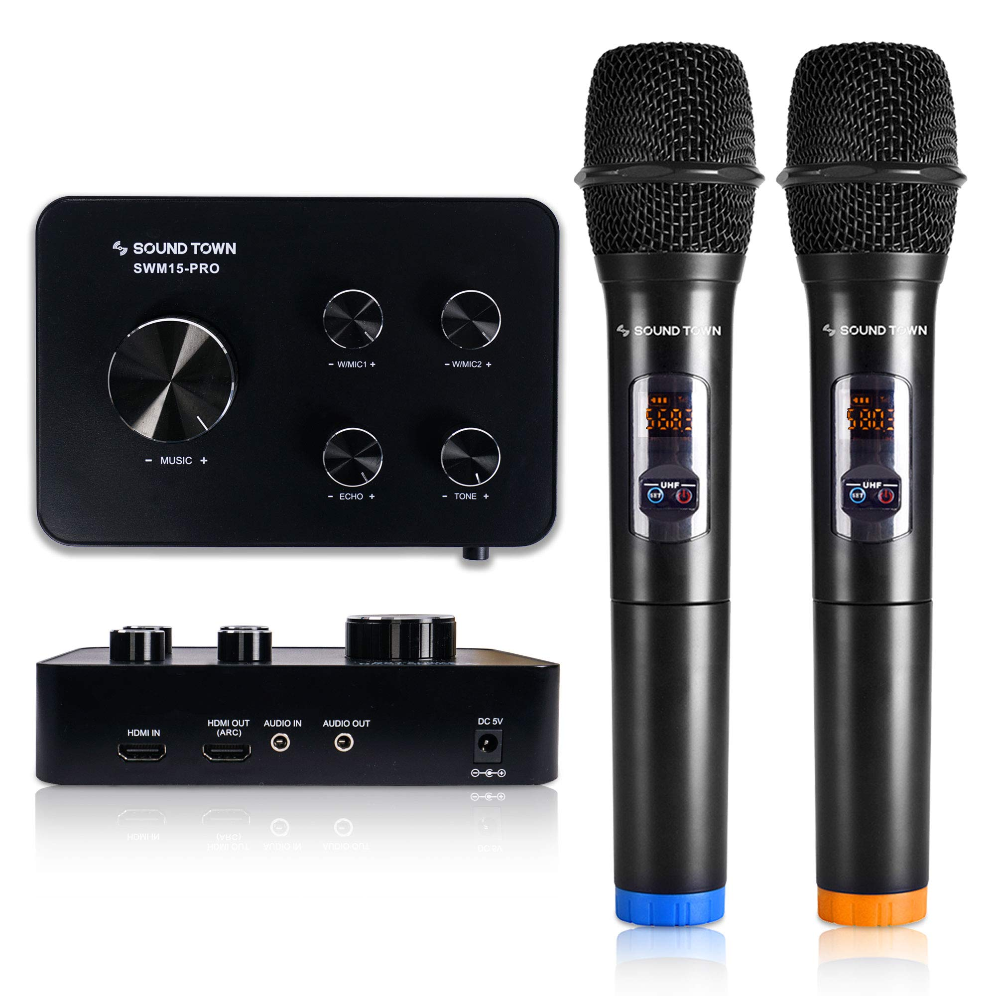 Sound Town 16 Channels Wireless Karaoke Microphone and Mixer System with Bluetooth, HDMI ARC, AUX, Supports Smart TV with HDMI Output (ARC), Media Box, PC, Home Theater (SWM15-PRO) - Upgrade Version by Sound Town