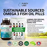 Purity Labs Omega 3 Fish Oil Supplement 3,000 MG