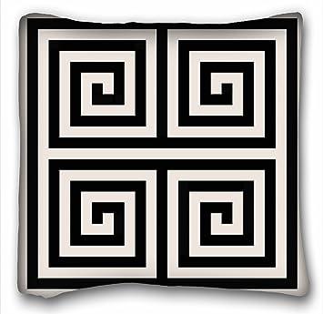 TAROLO Clé grecque Déco Chic Noir et blanc Motifs géométriques Taie ...