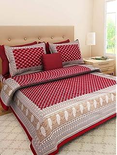 dba8ad91e73 Monik Handicrafts Cotton Rajasthani Jaipuri Sanganeri Traditional Double  Bed Sheet with 2 Pillow Covers