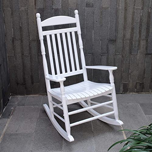 Cambridge Casual Solid Wood Bentley Traditional Porch Rocking Chair, Brilliant White