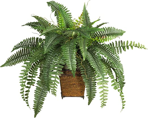 Amazon Com Nearly Natural 23in Boston Fern With Wicker Basket Silk Artificial Plant Green Home Kitchen
