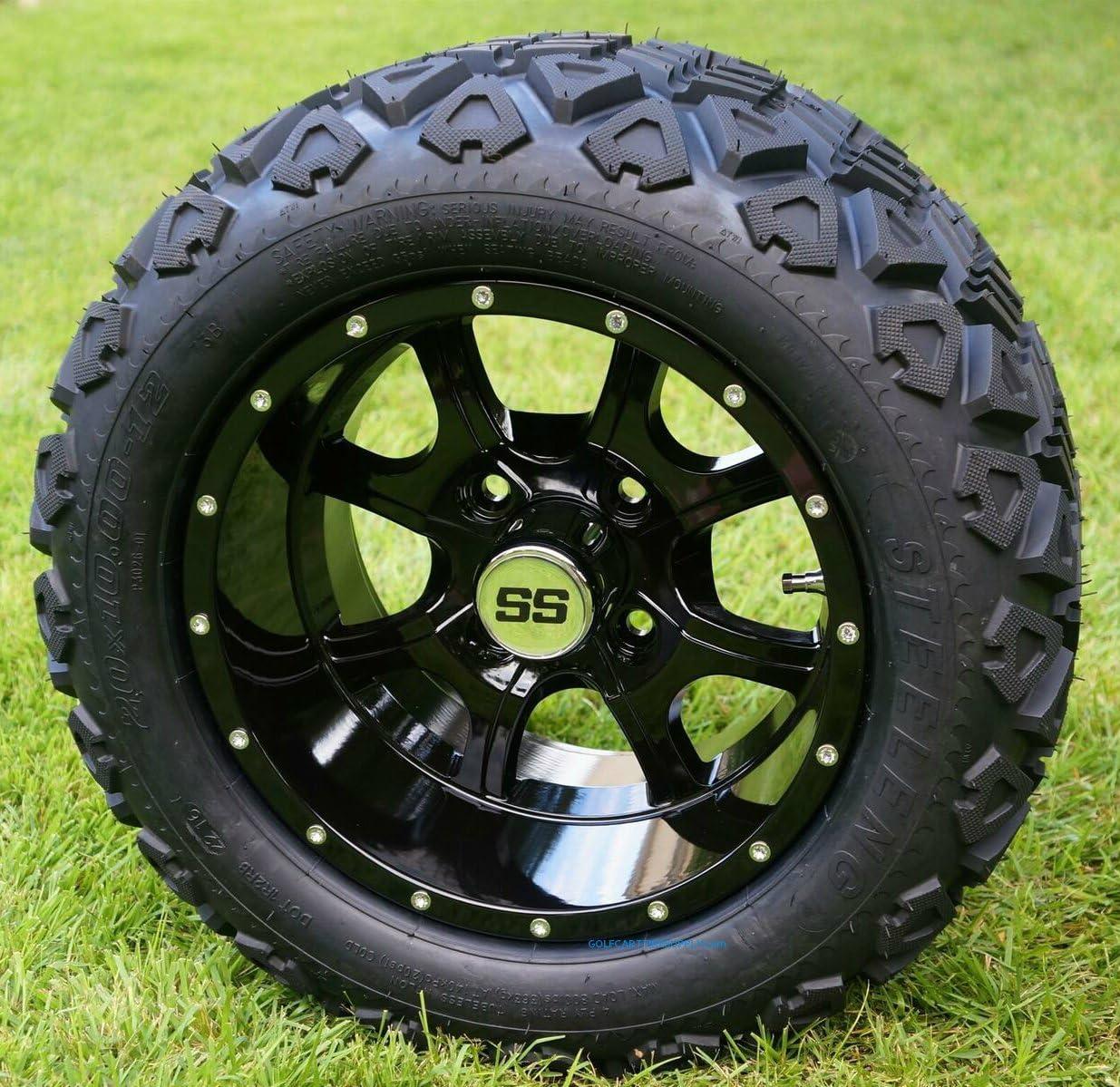 Amazon Com 12 Stalker Gloss Black Golf Cart Wheels And 20x10 12 Dot All Terrain Golf Cart Tires Set Of 4 No Lift Required Read Description Automotive