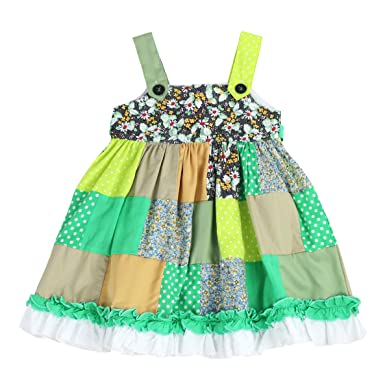 4e66c99343 THE SILLY SISSY - Toddlers and Girls Joyous Ruffles Patchwork Jumper Dress  in Green 2T