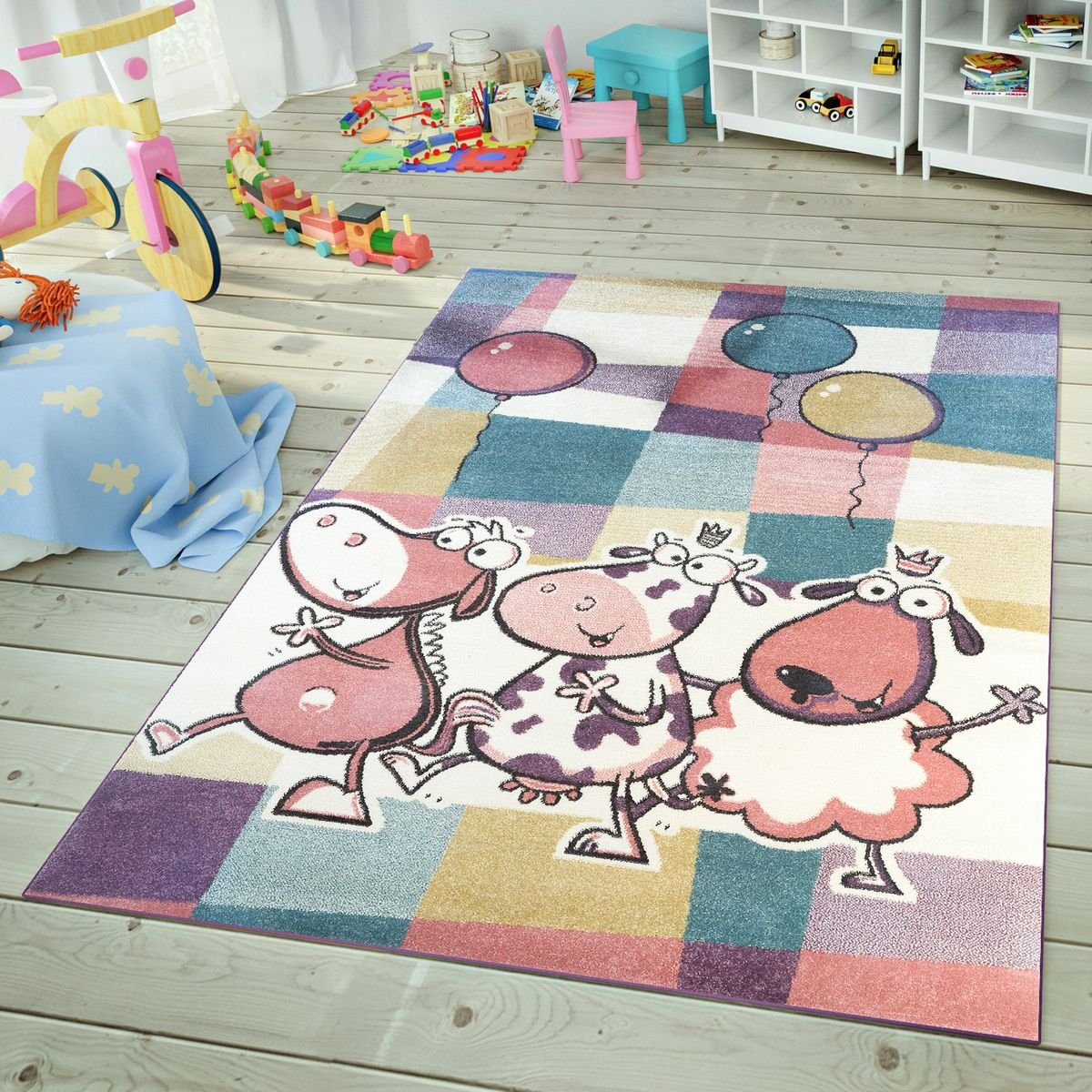 TT Home Moderner Kinderteppich Spielzimmer Lustige Kühe Karo Muster Bunte Farben Pastell, Größe 120x170 cm