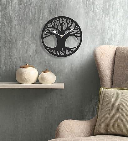 Sehaz Artworks Tree Root Round Wooden Wall Clock (25.5 cm x 25.5 cm x 3 cm, Black)