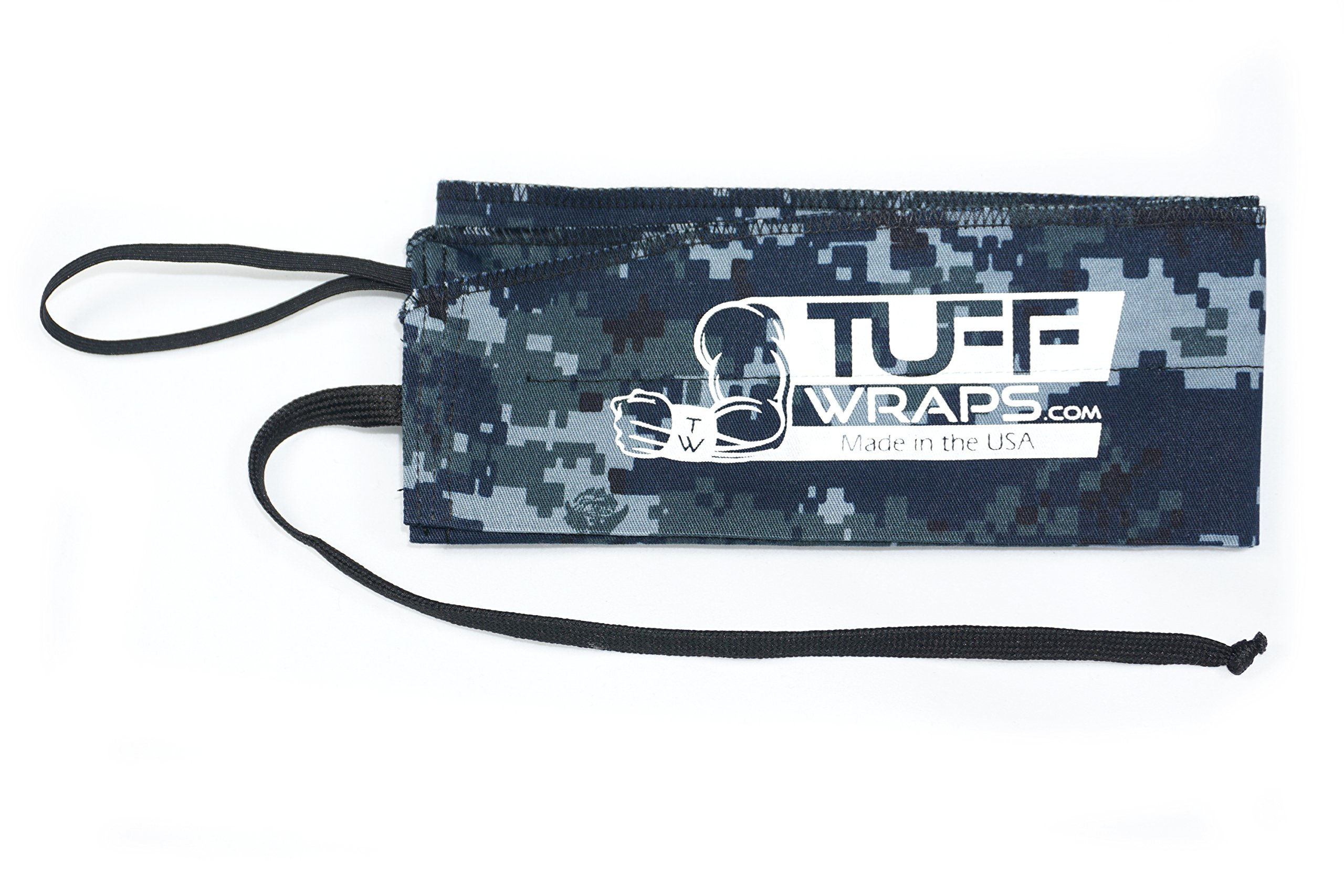 Tuffwraps: Wraps for Crossfit, Olympic Weightlifting, Power Lifting. Innovative Thumb Loop for Easy Application. (Navy Camo)